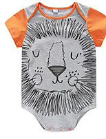 Baby Casual/Daily Animal Print Clothing Set-Cotton-Summer-Orange / Gray