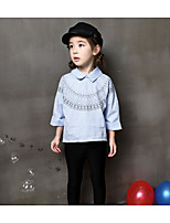 Menina de Camisa,Casual Listrado Algodão Primavera / Outono Azul