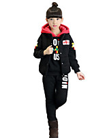 Girl's Cartoon Fleece Lined Print Color Block Cotton Padded Three Pieces Clothing Sets(Thickness Hoodie Vest and Pants)