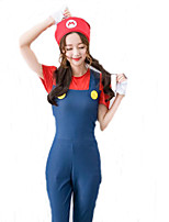 Cute Jumpsuit Super Mario Costume Adults Women Plumber Cosplay