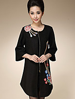 AINIER Women's Casual/Daily Chinoiserie CoatEmbroidered Round Neck  Sleeve Fall Black Polyester Medium