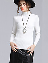 Women's Casual/Daily Simple Regular Pullover,Solid White Black Crew Neck Long Sleeve Cotton Fall Winter Medium Micro-elastic