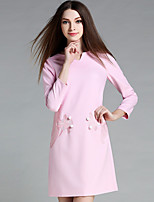 YICHAOFUSHI Women's Going out Street chic Loose DressJacquard V Neck Above Knee Long Sleeve Pink Polyester Fall Mid Rise - OMQ-Y1590-210