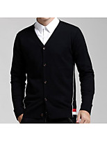 Men's Casual/Daily / Plus Size Simple Long Cardigan,Solid Black / Gray Stand Long Sleeve Cotton Fall Medium Micro-elastic