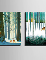 E-HOME Stretched Canvas Art The Deer Forest Scenery Decoration Painting  Set Of 2