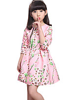 Girl's Casual/Daily Solid Dress,Cotton Blend Spring / Fall Long Sleeve