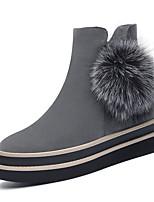 Черный Серый-Женский-Для офиса Для праздника Повседневный-Кожа-На платформе-На платформе-Ботинки