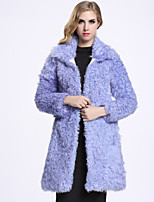 Женский На каждый день Однотонный Пальто с мехом Рубашечный воротник,Изысканный Зима Фиолетовый Длинный рукав,Шерсть