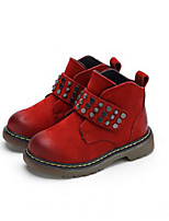 Boy's Boots Winter Other Leather Outdoor Low Heel Rivet Black Brown Red Coffee Other
