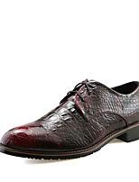 Черный Коричневый Серебристый Бордовый-Мужской-Повседневный-Полиуретан-На плоской подошве-Удобная обувь-Туфли на шнуровке