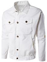 Мужчины На каждый день / Спорт / Большие размеры Однотонный Куртка Рубашечный воротник,Простое / Активный Осень / ЗимаСиний / Белый /
