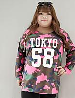 Tee-shirt Femme,camouflage / Lettre Décontracté / Quotidien / Grandes Tailles simple Automne / Hiver Manches Longues Capuche RoseCoton /