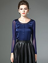 Damen Patchwork Einfach Ausgehen / Übergröße T-shirt,Rundhalsausschnitt Frühling Langarm Blau / Schwarz Polyester / Nylon / Elasthan
