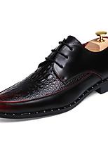 Черный Коричневый Бордовый-Мужской-Для офиса Повседневный Для вечеринки / ужина-Кожа-На плоской подошве-Другое-Туфли на шнуровке