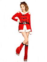 Cosplay Costumes Santa Suits Movie Cosplay Red Solid Dress / Belt / Leg Warmers Christmas Female Polyester