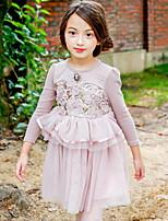 Девичий Платье На каждый день Хлопок Однотонный Зима Длинный рукав