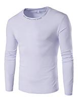 Masculino Camiseta Casual / Esportivo / Tamanhos Grandes Simples Outono / Inverno,Colorido Azul / Branco / Preto / Cinza AlgodãoDecote