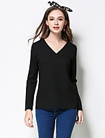 Women's Casual/Daily Plus Size Simple Regular Pullover,Solid Black V Neck Long Sleeve Polyester Fall Medium Micro-elastic