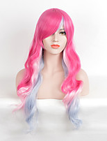 Fashion Red Pink To Bule Mixed Color Curly Synthetic Wigs For Afro Women