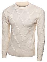 Men's Casual Slim Diamond Pattern Knitted Pullovers O Neck Long Sleeve Cotton Fall / Winter Medium Micro-elastic