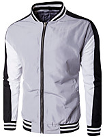 Men's Plus Size / Casual/Daily / Sports Simple / Active Jackets,Color Block Stand Long Sleeve Fall / Winter Blue / White / Black / Gray