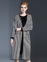 Women's Casual/Daily Simple Long Cardigan,Striped White Round Neck Long Sleeve Cotton Fall Winter Medium Inelastic