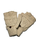 (NOTE - CLAMSHELL APRICOT) MS LOVELY FINGERS THIN WOOL KNITTED GLOVES