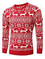 Herren Standard Pullover-Ausgehen Lässig/Alltäglich Einfach Aktiv Jacquard Blau Rot Schwarz Rundhalsausschnitt Langarm Baumwolle Winter