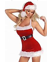 Disfraces de Cosplay Disfraces de Santa Cosplay de Películas Rojo Un Color Vestido / Sombreros Navidad Mujer Poliéster