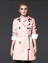 FRMZ  Women's Casual/Daily / Work Simple CoatSolid Peaked Lapel Long Sleeve Fall / Winter Pink Polyester Medium