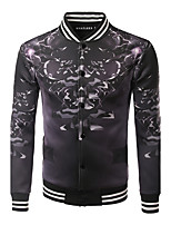 Men's Casual/Daily / Sports Active / Tops Jackets,Print Stand Long Sleeve Fall / Winter Black Cotton / Polyester