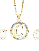 Kalen®2016   Wholesale Stainless Steel 18K Gold Plated Capital Letter C Pendant Necklace And Earrings Jewelry Set for Women