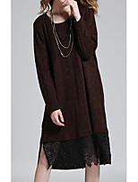 Women's Plus Size / Casual/Daily Simple Sweater Dress,Solid U Neck Midi Long Sleeve Red / Black / Brown Others Fall / Winter Mid Rise