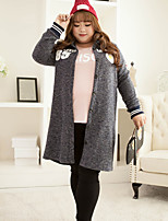 Women's Casual/Daily Plus Size Simple Long Cardigan,Solid Gray Shirt Collar Long Sleeve Polyester Winter Medium Inelastic
