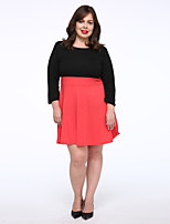 Women's Plus Size / Casual/Daily Simple Loose Dress,Color Block Round Neck Above Knee 3/4 Length Sleeve Orange Cotton Fall Mid Rise