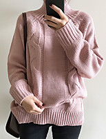 Women's Going out Solid / Tops Regular Pullover,Solid Pink / White / Brown / Yellow Turtleneck Long Sleeve Polyester Fall / Winter Medium