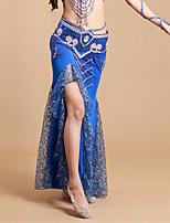 Dança do Ventre Tutos e Saias Mulheres Actuação Elastano / Poliéster Plissado 1 Peça Natural Saia 93cm