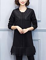 Ample Robe Femme Décontracté / Quotidien / Grandes Tailles simple,Mosaïque Col Arrondi Au dessus du genou Manches Longues Noir Polyester