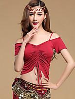 Dança do Ventre Blusas Mulheres Treino Modal 1 Peça Manga Curta Top M: 49cm, L: 51cm