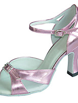 Women's Latin Faux Leather Sandals Beginner Buckle Stiletto Heel Blushing Pink 3