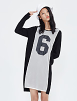 Metersbonwe Women's Casual/Daily Street chic Loose DressLetter Round Neck Above Knee Long Sleeve Black Polyester Winter Mid Rise Inelastic Thick