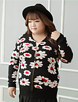 Women's Casual/Daily Plus Size Chinoiserie Regular Cardigan,Floral Black Round Neck Long Sleeve Cotton Fall Winter Medium Micro-elastic