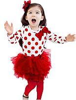 Для девочек Наборы На каждый день / Спорт / Для школы Кружева Горошек Весна / Осень Длинный рукав Набор одежды