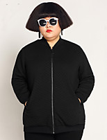 JAZZ  Women's Plus Size / Casual/Daily Simple JacketsSolid V Neck Long Sleeve Winter Black Polyester / Spandex / Others