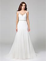 Lanting Bride® Wijd uitlopend Bruidsjurk - Glamoureus & Dramatisch Open rug Hofsleep Bandjes Tule metKralen / Ruche / Sjerp / Lint /