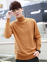 Standard Pullover Da uomo-Casual Tinta unita A collo alto Manica lunga Nylon Inverno Medio spessore Media elasticità