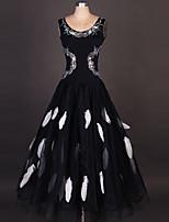 ריקודים סלוניים שמלות ביצועים ספנדקס / אורגנזה קריסטלים / rhinestones / עטוף / Paillettes חלק 1 בלי שרוולים גבוה שמלות S-XXXL: 120-130cm