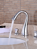 Waterfall with Ceramic Valve Two Handles Three Holes for Chrome , Bathroom Sink Faucet