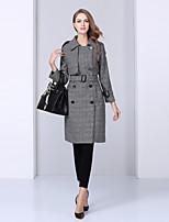 NEDO Women's Casual/Daily Simple Trench CoatPrint Shirt Collar Long Sleeve Fall / Winter Gray Wool / Polyester Medium
