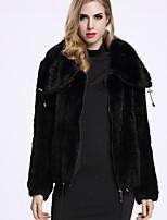 Женский На каждый день Однотонный Пальто с мехом Свободный вырез,Изысканный Зима Черный Длинный рукав,Другое